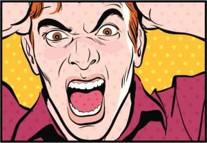 Man shouting, pulling hair