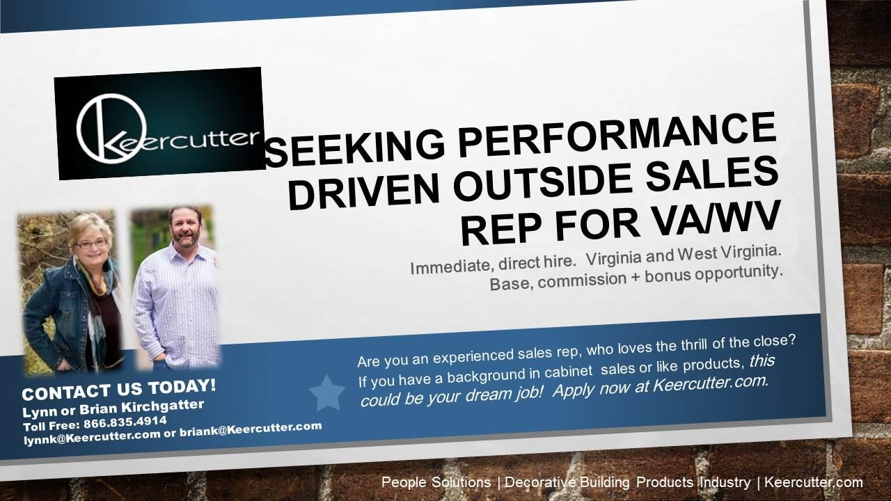 Seeking Performance Driven Outside Sales Rep for VA/WV ...